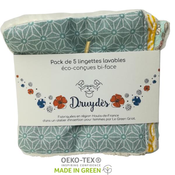 Lingettes lavables et réutilisables en coton Bio -multicolores-(5 pièces) Druyès