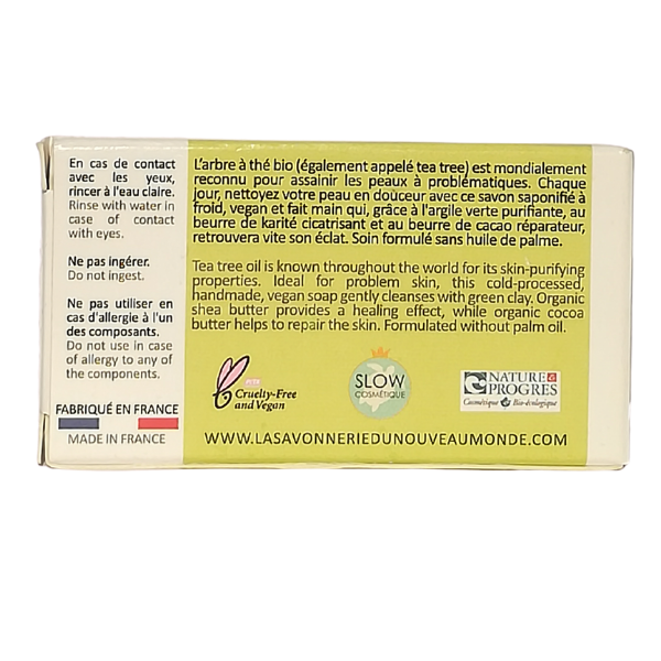 SAVON purifiant Bio à l'huile essentielle de tea tree-(50 g)