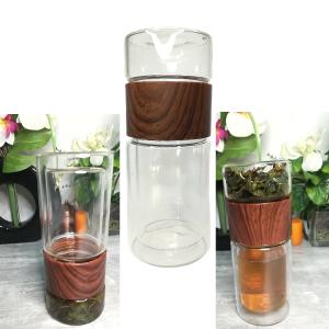 infuseur isotherme en verre-double paroi, deux compartiments couleur Bois