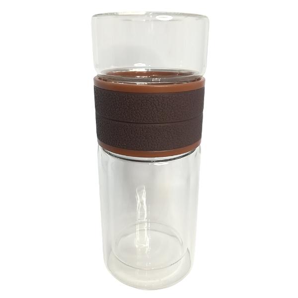 infuseur isotherme en verre-double paroi, deux compartiments couleur Marron