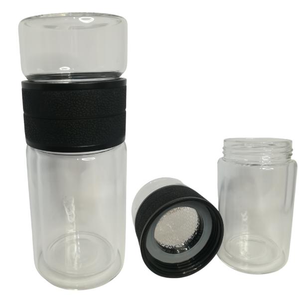 infuseur isotherme en verre-double paroi, deux compartiments couleur Noir